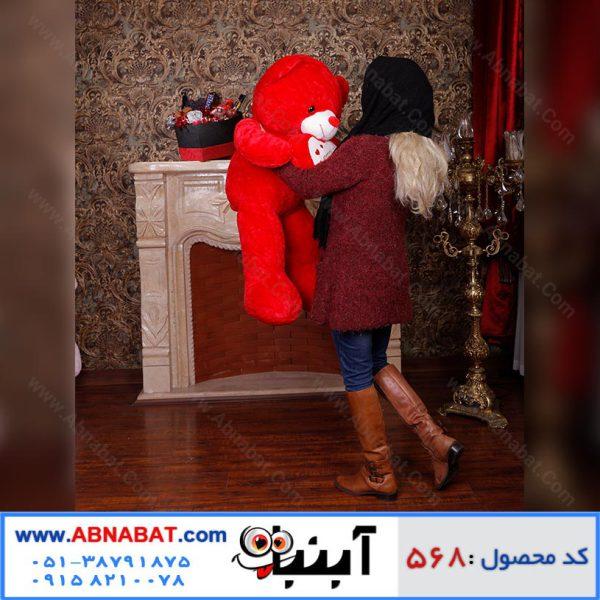 عروسک خرس ولنتاین قلب دار رنگ قرمز