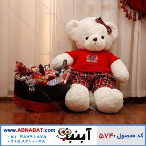 عروسک خرس بزرگ سفید با لباس قرمز