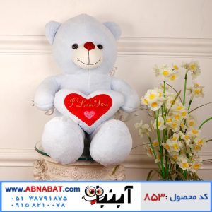 عروسک خرس قلب دار آبی