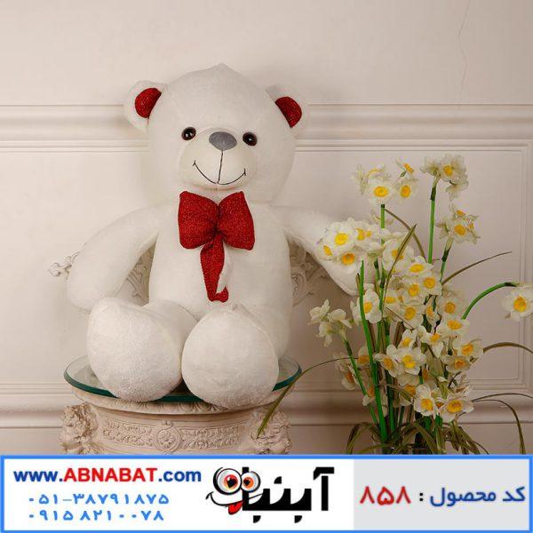 عروسک خرس سفید پاپیون اکلیلی
