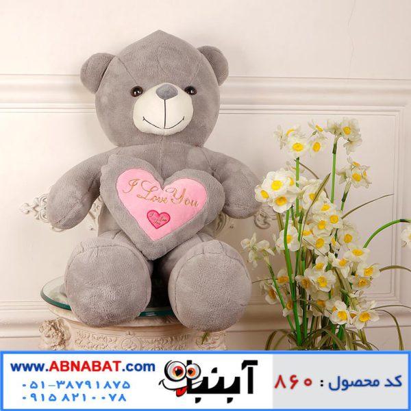 عروسک خرس قلب دار خاکستری