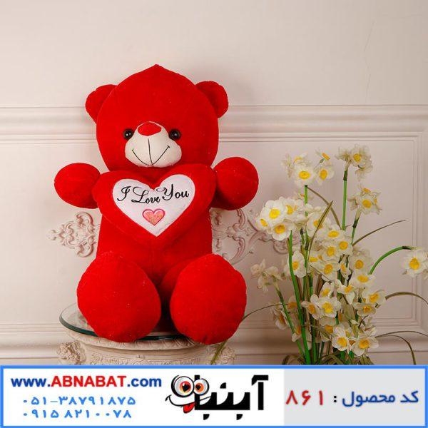 عروسک خرس قلب دار قرمز
