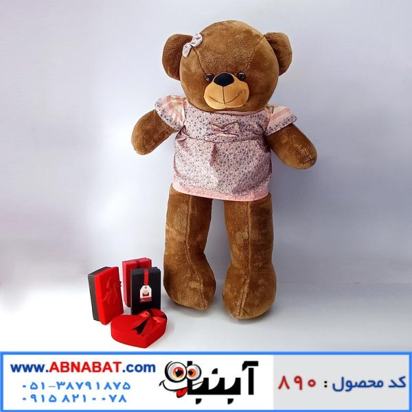 عروسک خرس قهوه ای دخترانه