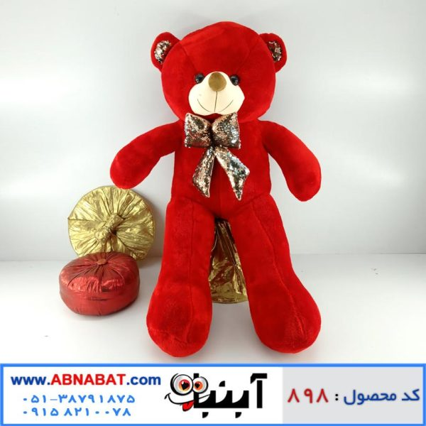 عروسک خرس قرمز پاپیون دار