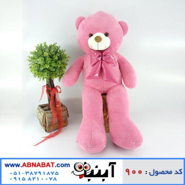 عروسک خرس صورتی پاپیون دار