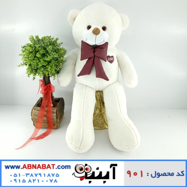 عروسک خرس سفید پاپیون دار