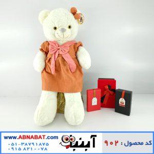 عروسک خرس سفید دخترانه لباس دار
