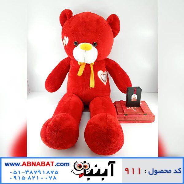 عروسک خرس قرمز قلب روی سینه