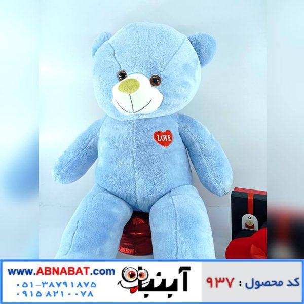 عروسک خرس آبی قلب روی سینه